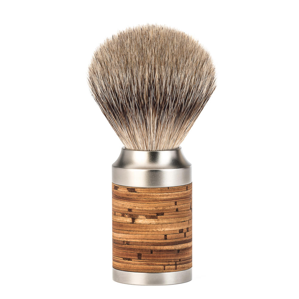 MUHLE ROCCA Birch Bark Handle Stainless Steel Silvertip Badger Shaving Brush - 091M95