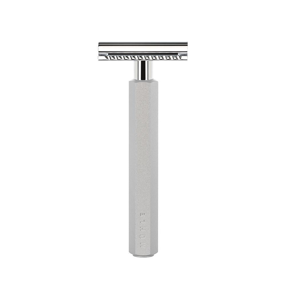 MÜHLE HEXAGON Series anodised aluminum silver safety razor