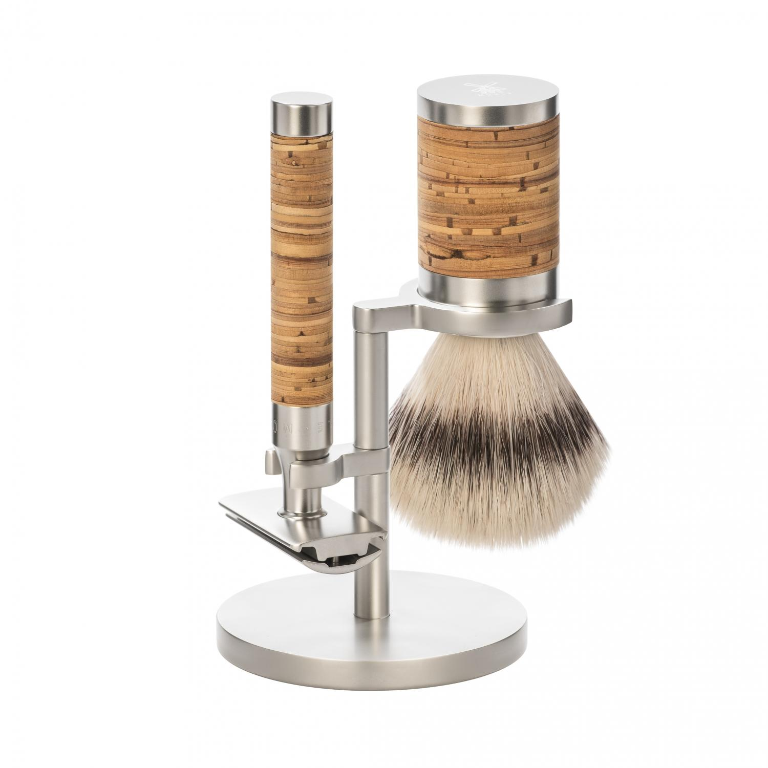 MÜHLE ROCCA Birch Bark Stainless Steel Silvertip Fibre Set