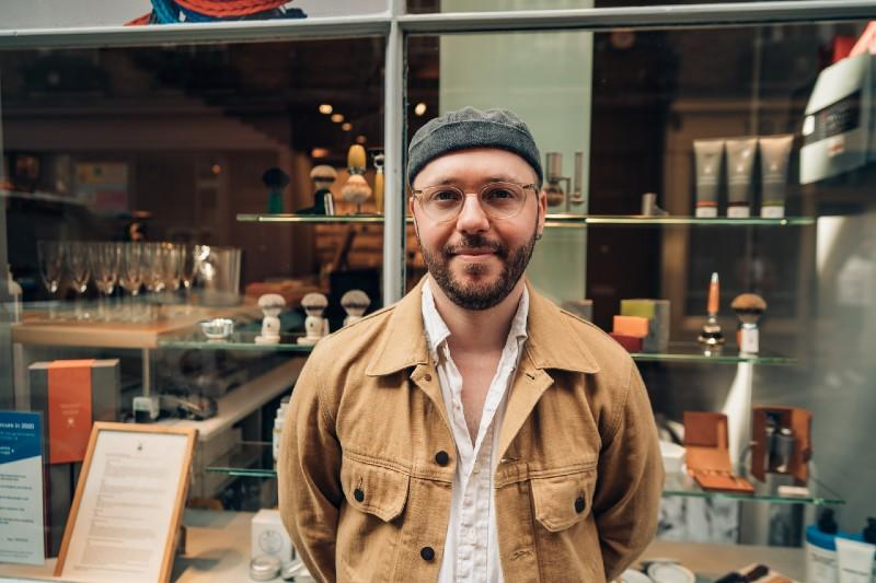 MÜHLE London Store Manager, Nick, stands in front of the store on Newburgh Street, in Carnaby