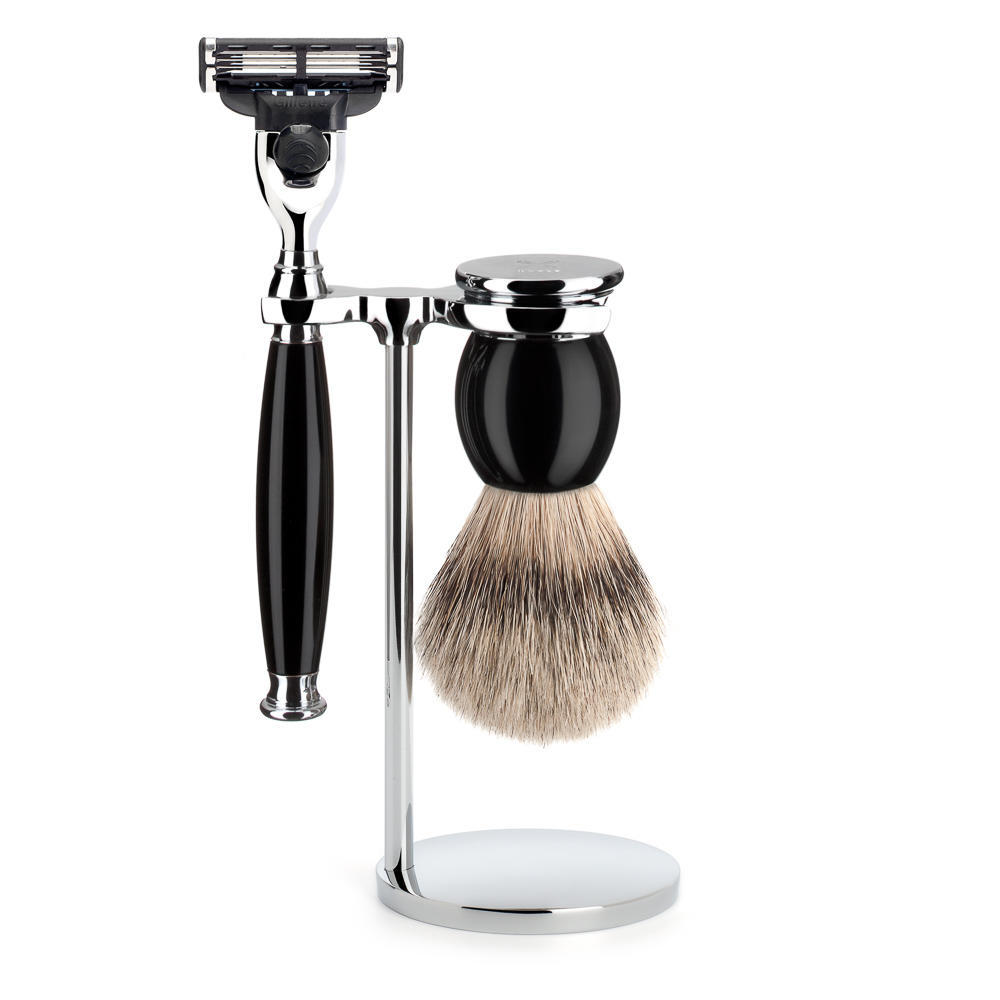 MUHLE SOPHIST Silvertip Badger Brush and Mach3 Shaving Set in Black - S93K44M3