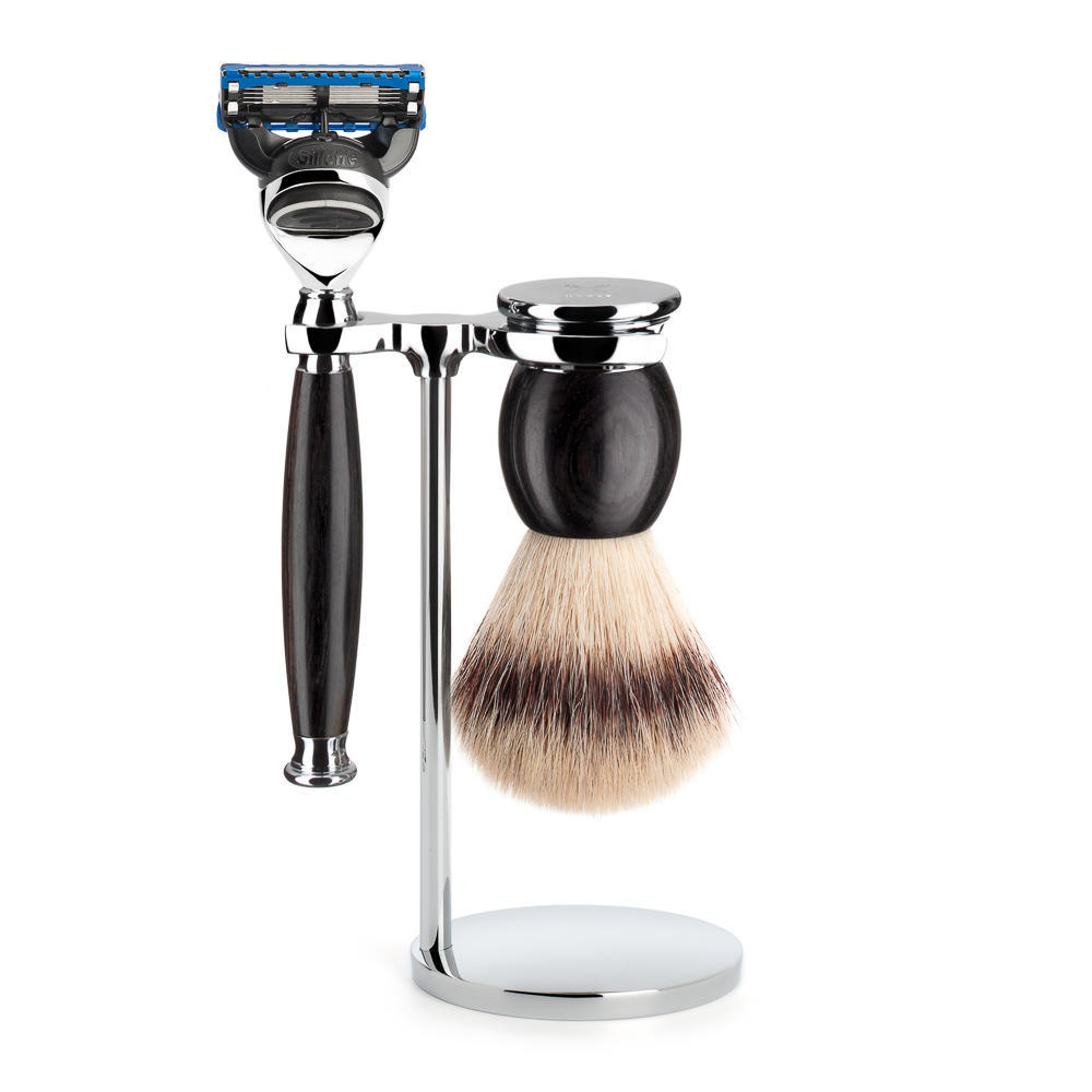 MUHLE SOPHIST Silvertip Fibre Brush and Fusion Razor Shaving Set in Grenadille with Stand - S33H85F