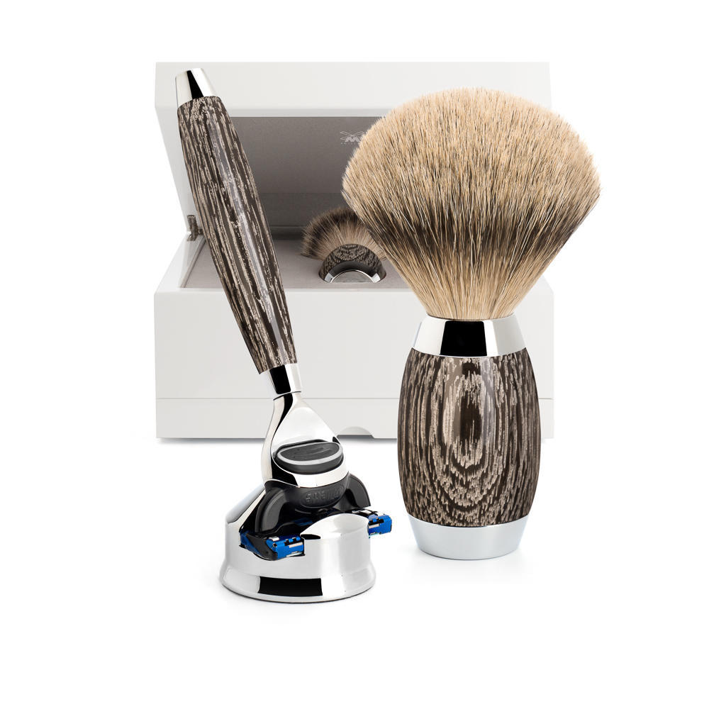MUHLE EDITION No. 3 Bog Oak & Sterling Silver 3-piece Silvertip Badger/Fusion Set - S493ED3
