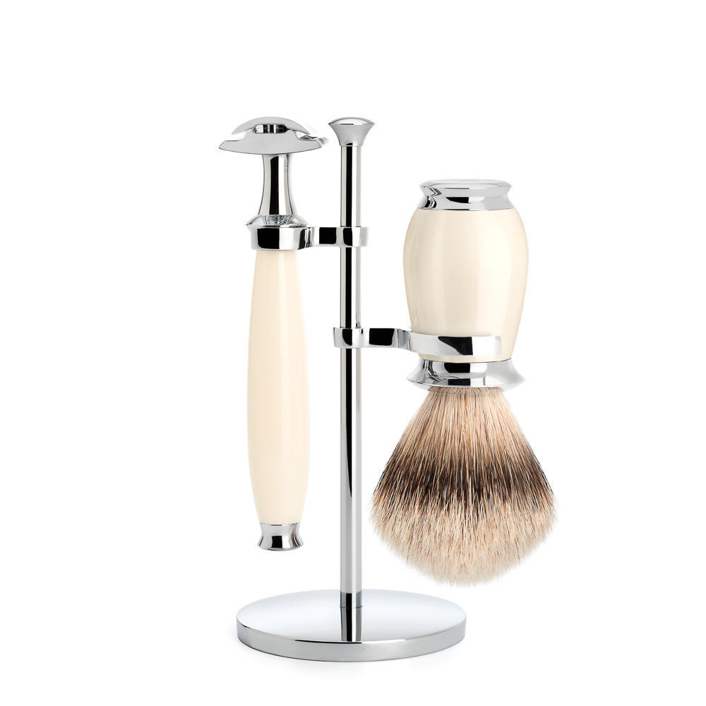 MUHLE PURIST Silvertip Badger Brush and Safety Razor Shaving Set in Ivory with Stand - S091K57SR