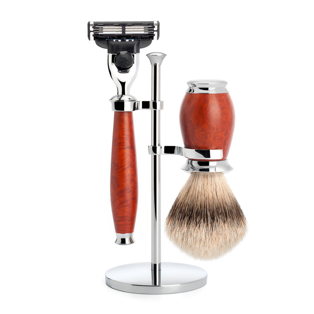 MUHLE PURIST Silvertip Badger Brush and Mach3 Razor Shaving Set in Briar Wood with Stand - S091H59M3