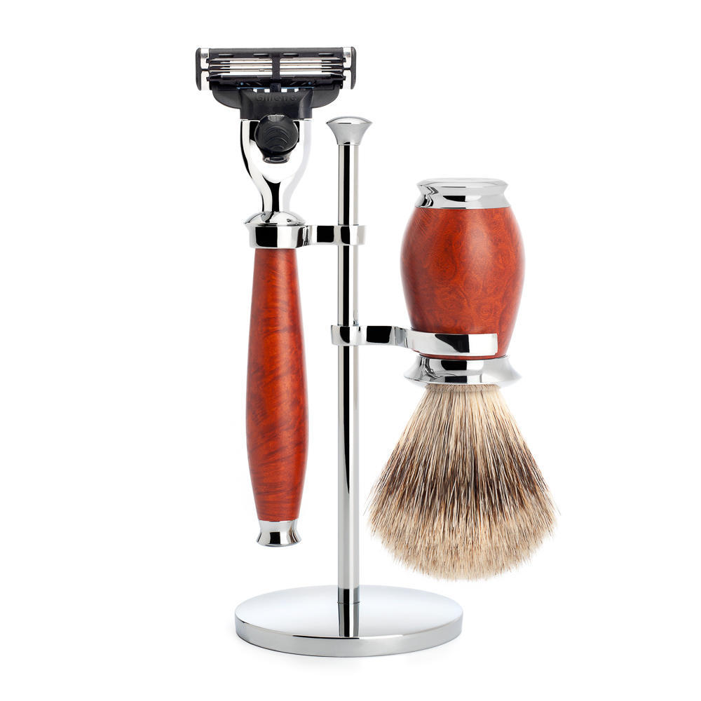 MUHLE PURIST Fine Badger Shaving Brush and Mach3 Razor Shaving Set in Briar Wood with Stand - S281H59M3