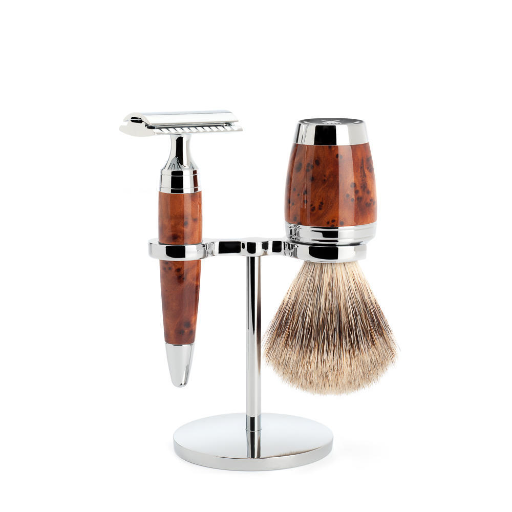 MÜHLE STYLO 3-piece shaving set in thuja wood Incl. fine badger shaving brush and safety razor