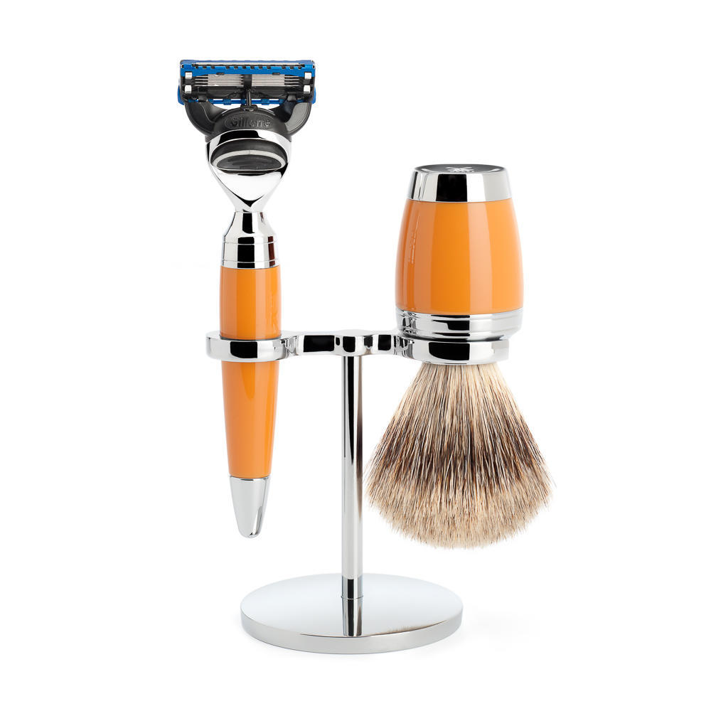 MÜHLE STYLO 3-piece shaving set in butterscotch Incl. fine badger shaving brush and fusion razor