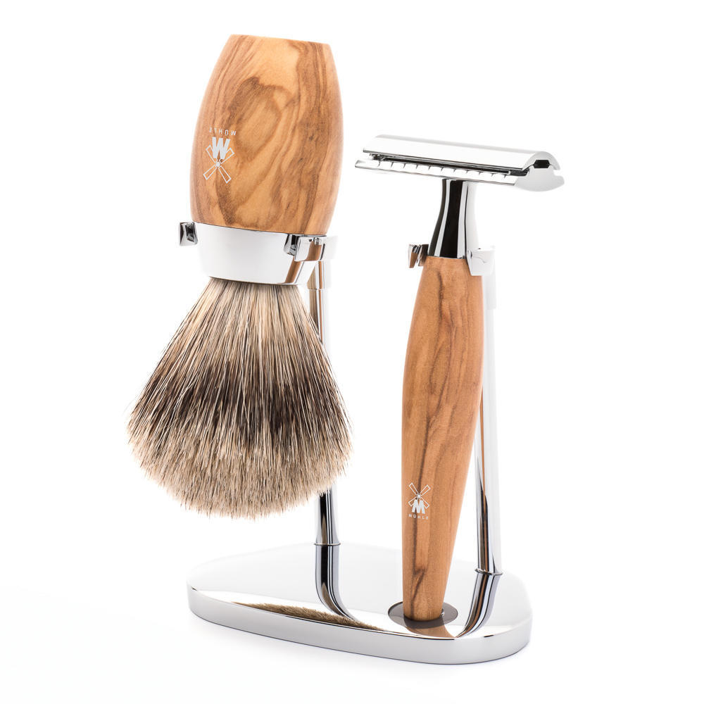 MÜHLE KOSMO 3-piece shaving set in olive wood Incl. fine badger shaving brush and safety razor