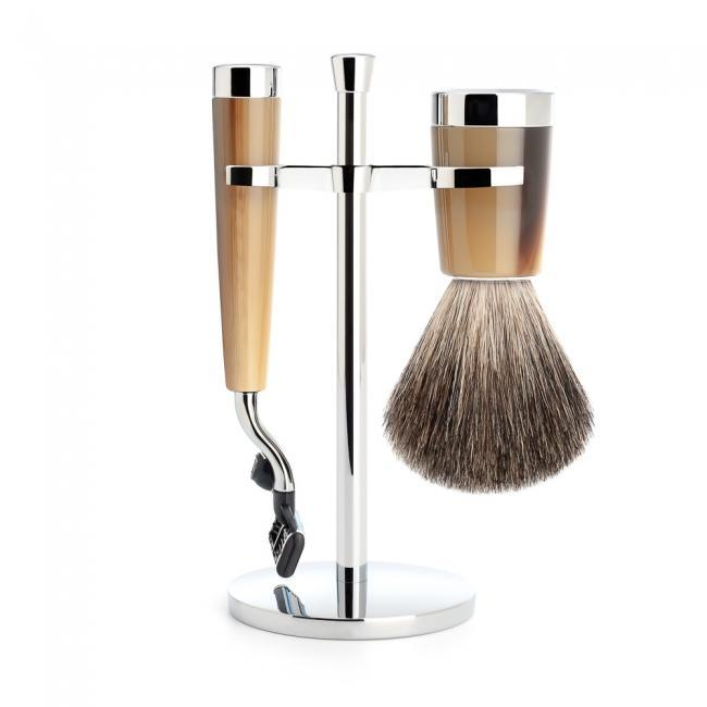 MUHLE LISCIO Brown Horn Resin 3-piece Pure Badger Brush and Mach3 Shaving Set - S81M142M3