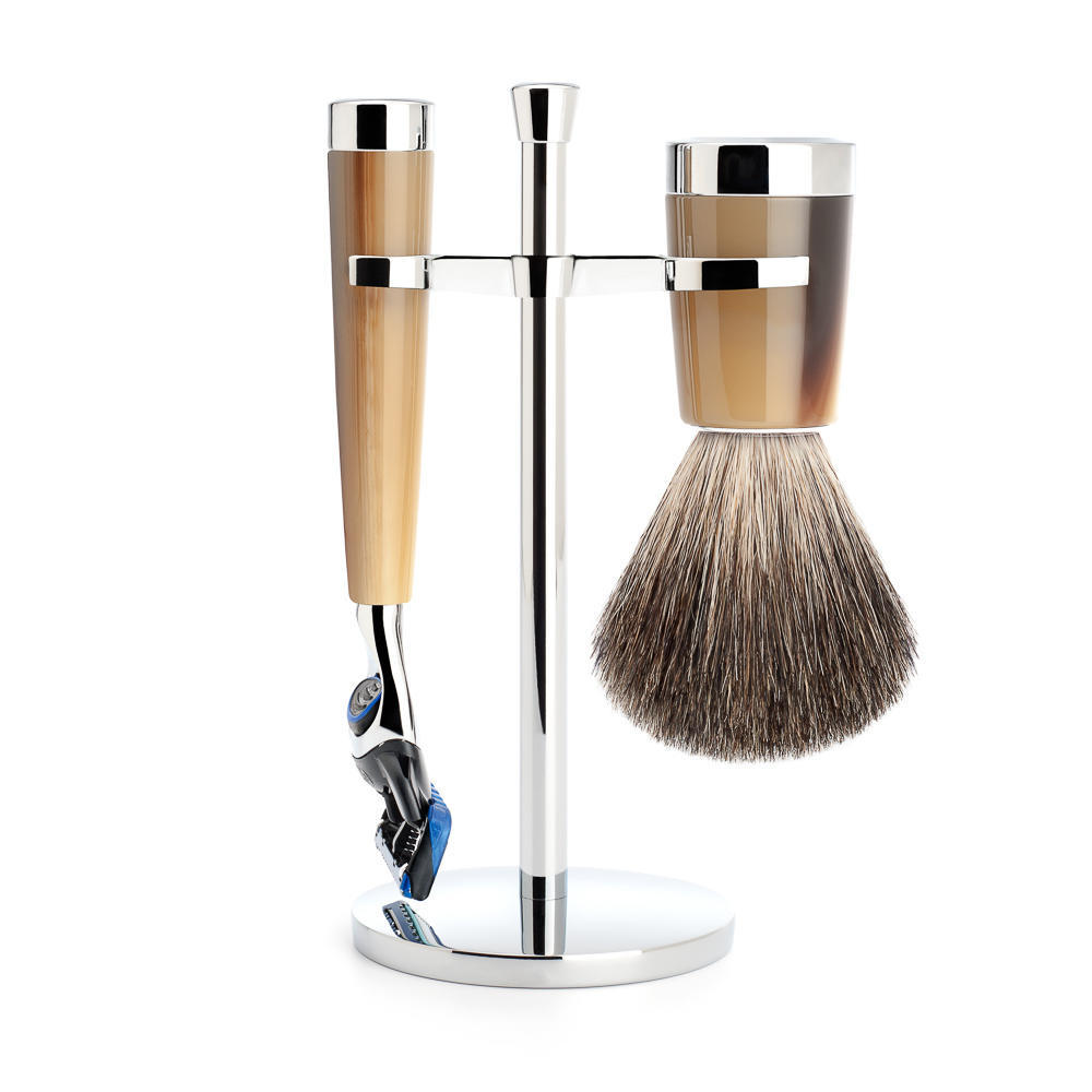 MUHLE LISCIO Brown Horn Resin 3-piece Pure Badger Brush and Fusion Razor Shaving Set - S81M142F
