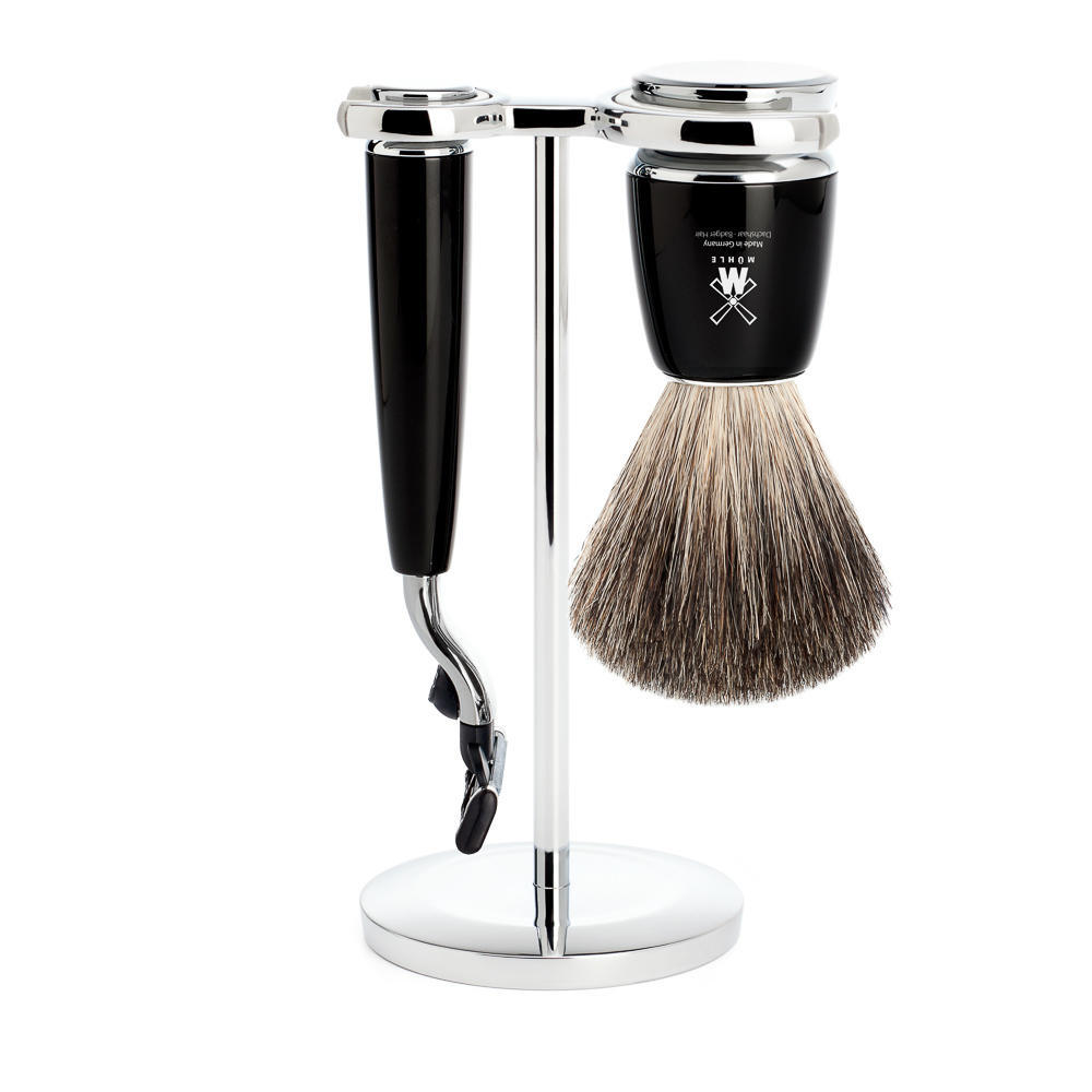 MUHLE RYTMO Black 3-piece Pure Badger Brush and Mach3 Razor Shaving Set - S81M226M3