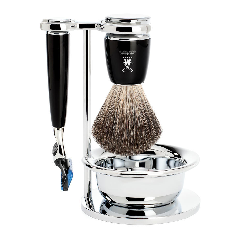 MUHLE RYTMO Black 4-piece Pure Badger Brush and Fusion Razor Shaving Set - S81M226SF