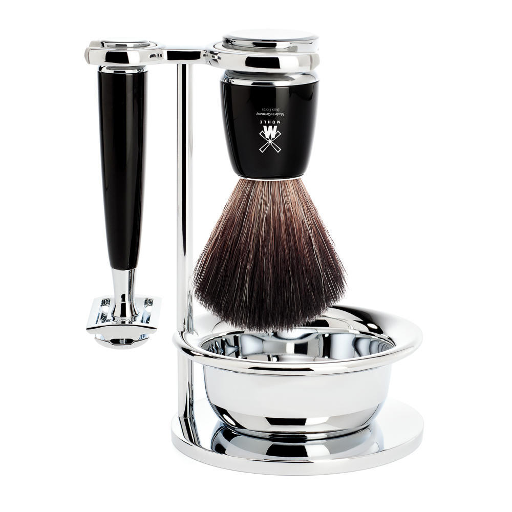MUHLE RYTMO Black 4-piece Black Fibre Brush and Safety Razor Shaving Set - S21M226SSR
