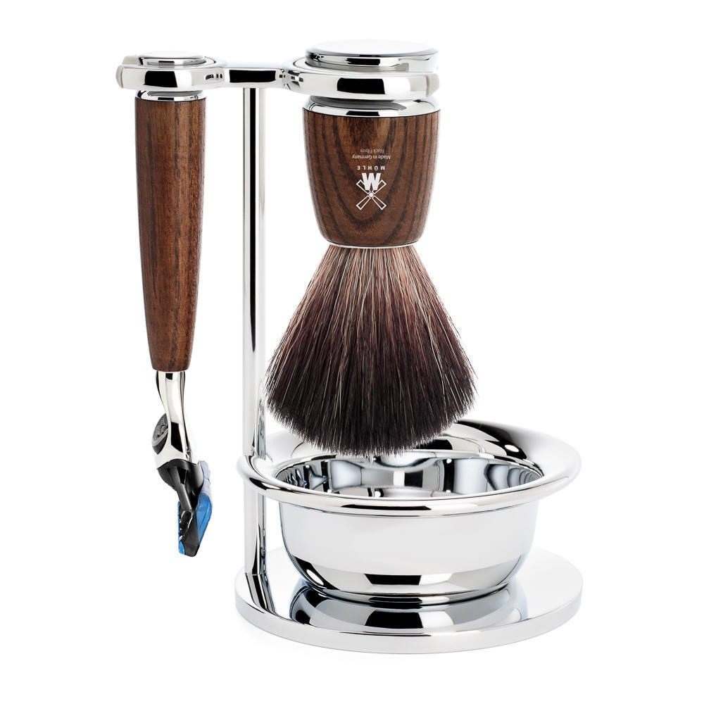 MÜHLE RYTMO 4-piece shaving set in steamed ash Incl. black fibre shaving brush, Fusion Razor and bowl