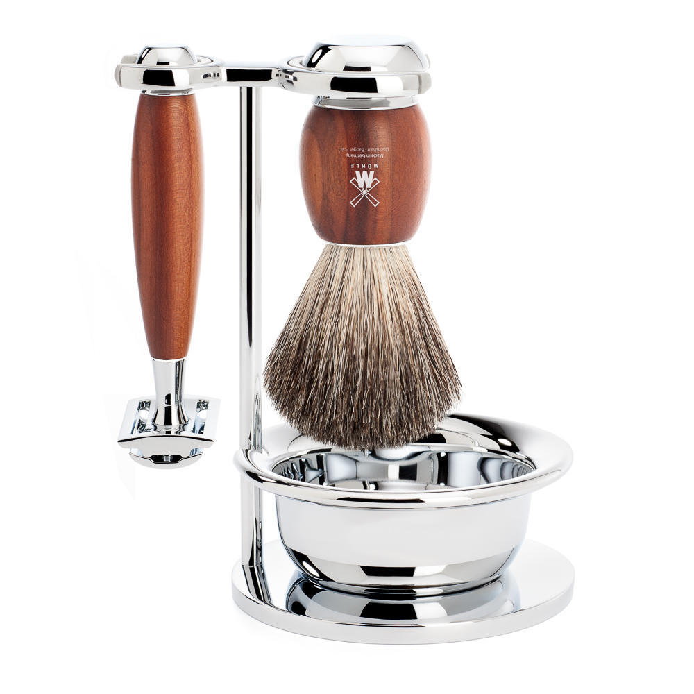 MUHLE VIVO Plumwood 4-piece Pure Badger Brush and Safety Razor Shaving Set - S81H331SSR