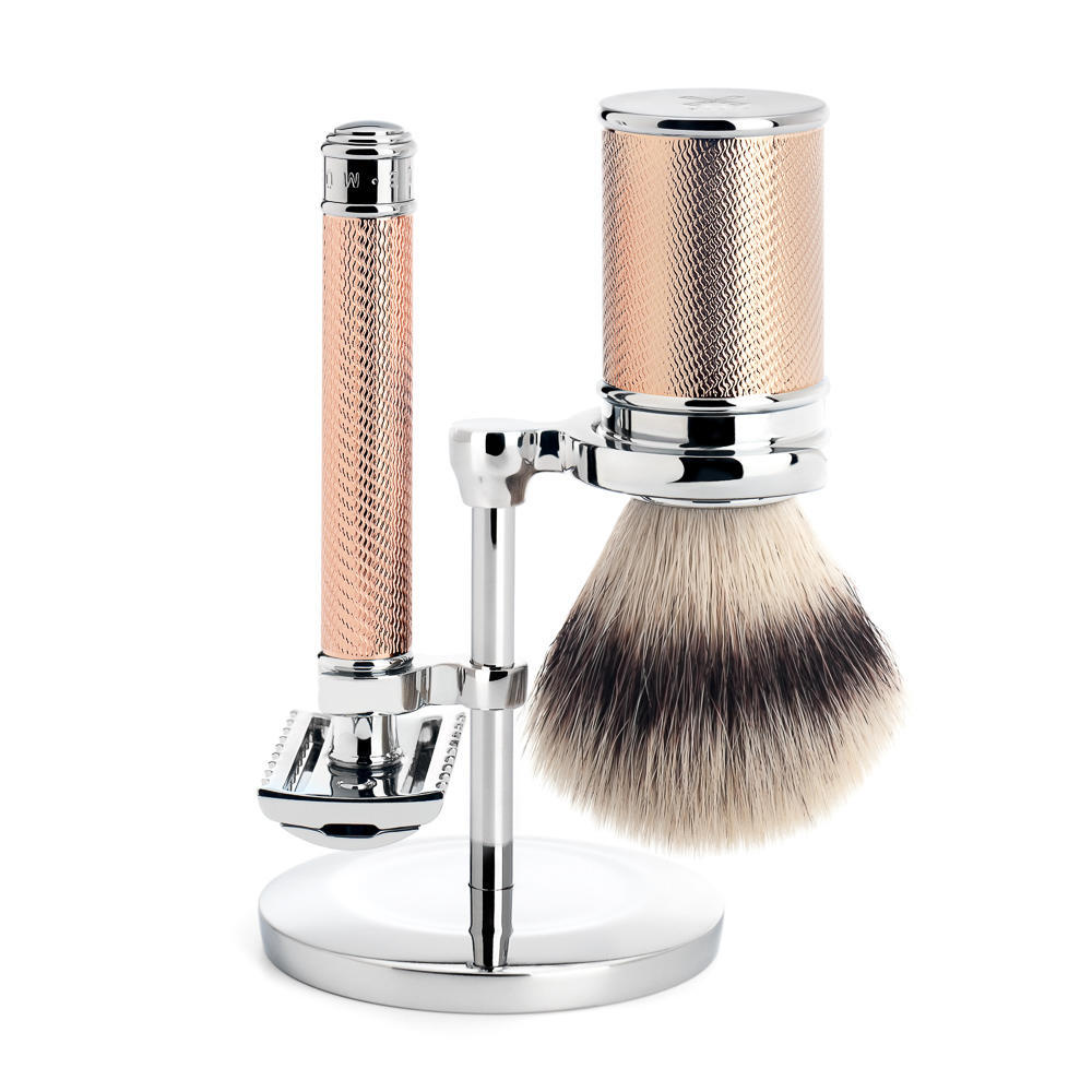 MUHLE TRADITIONAL Rosegold Silvertip Fibre Brush and Open Comb Safety Razor Shaving Set - S31M41RG