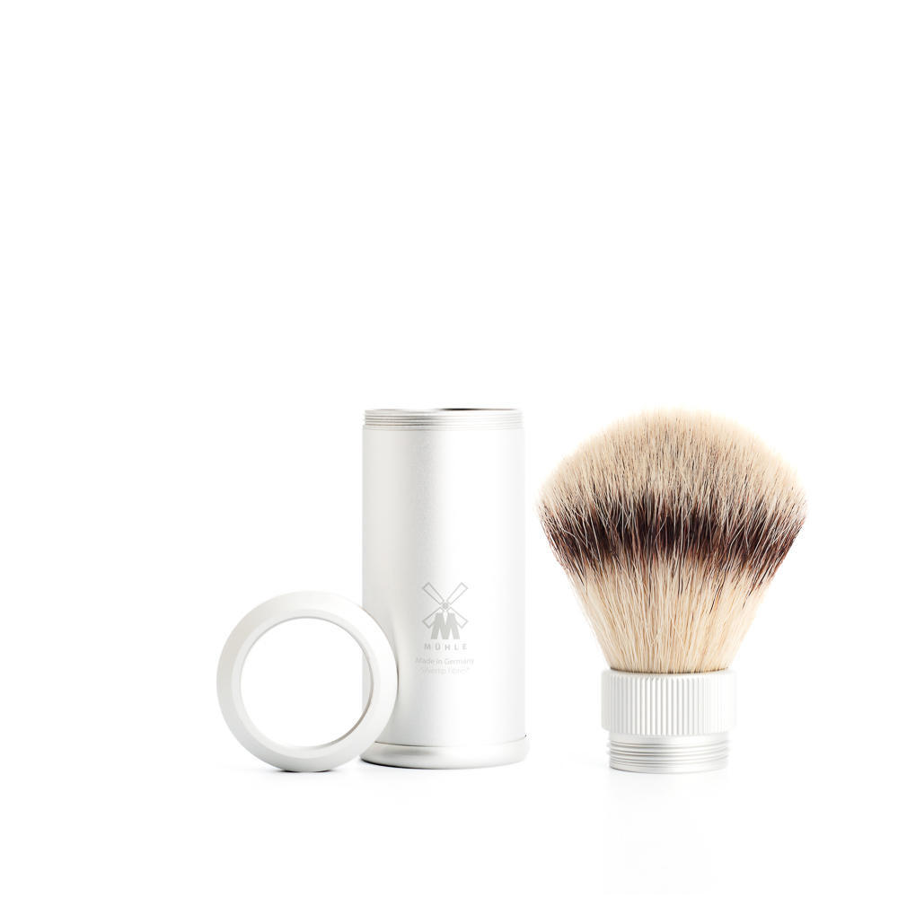 MUHLE TRAVEL SIlver Anodised Aluminum Silvertip Fibre Travel Shaving Brush