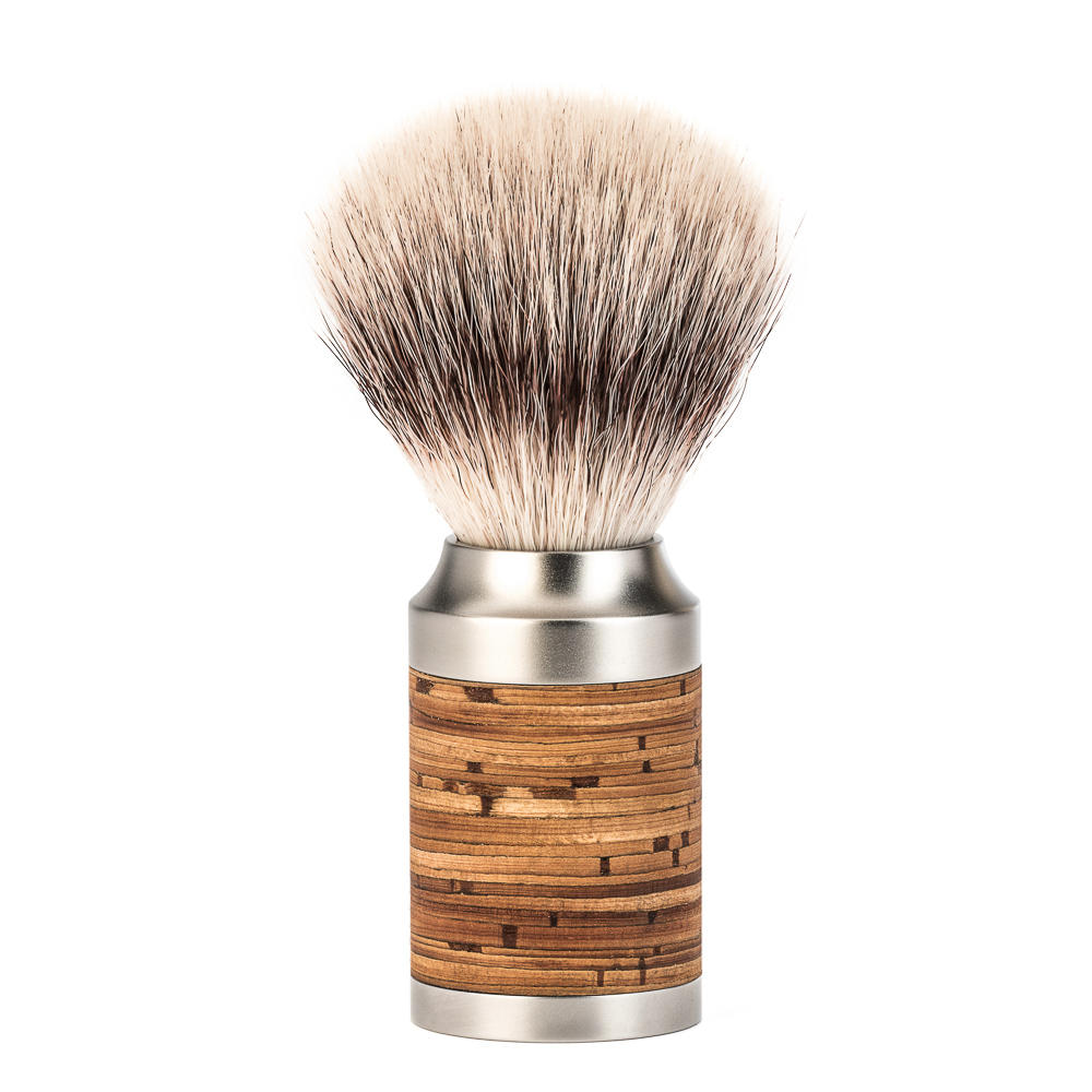 MUHLE ROCCA Birch Bark Handle Stainless Steel Silvertip Fibre Shaving Brush - 31M95