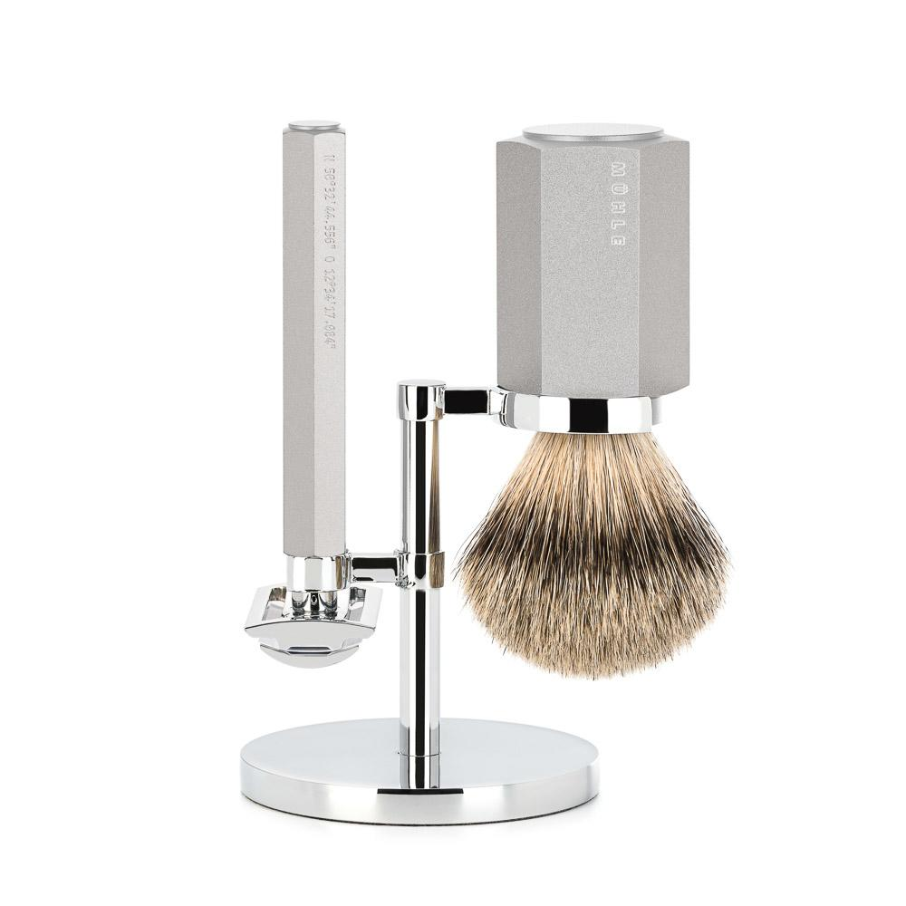 MÜHLE HEXAGON Series Silver 3-Piece Silvertip Badger Shaving Set - S091MHXGPURE