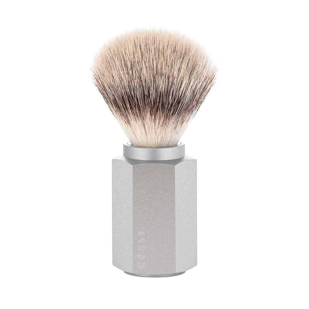 MÜHLE HEXAGON Series anodised aluminum silver handle silvertip fibre hair shaving brush