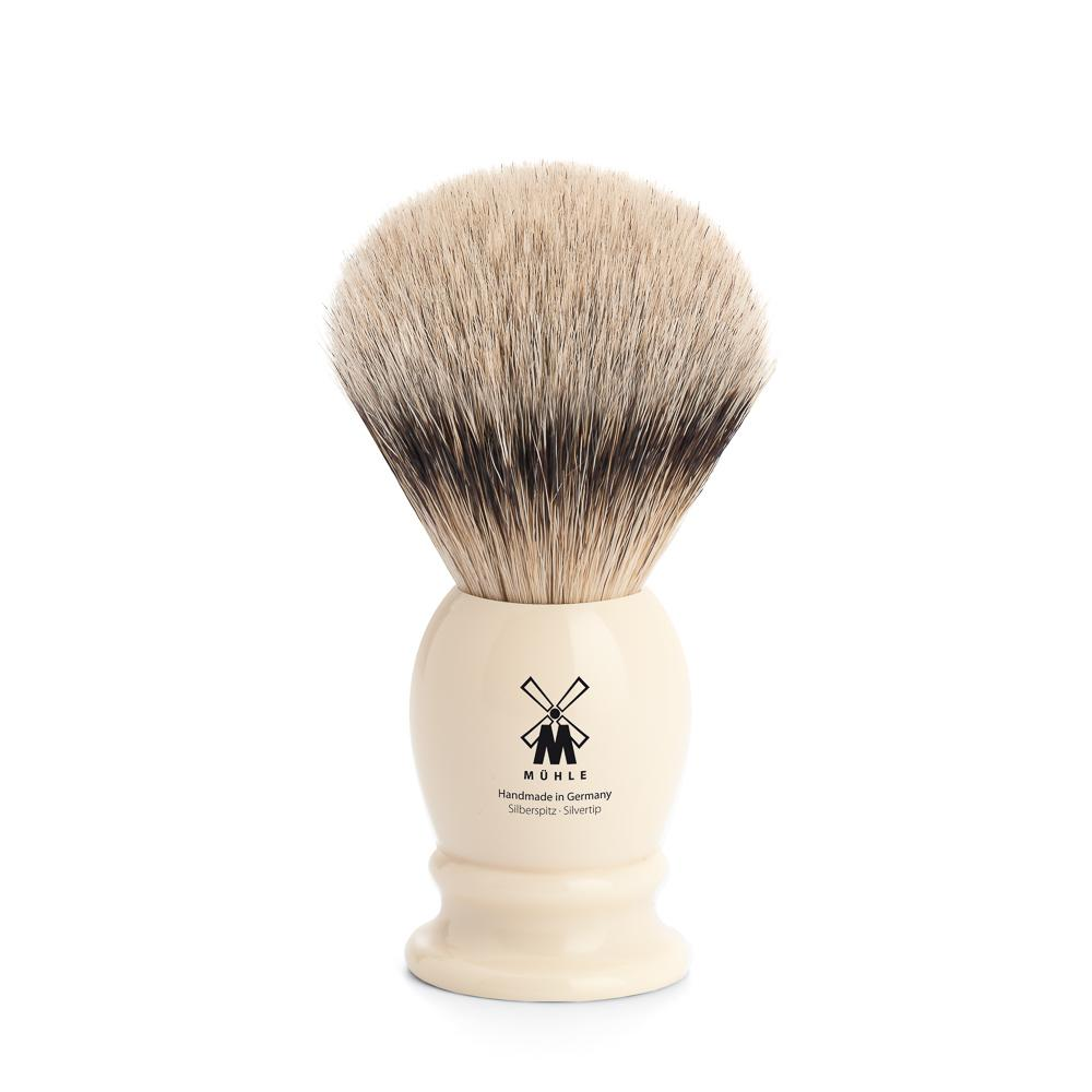 MUHLE Classic Medium Faux Ivory Silvertip Badger Shaving Brush - 091K257