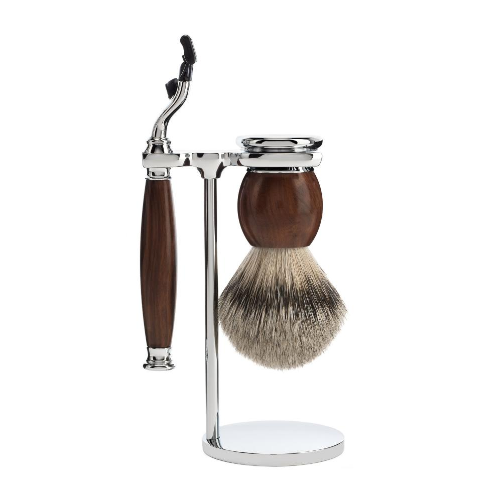 MÜHLE SOPHIST Ironwood 3-piece Silvertip Badger / Mach3 Shaving Set