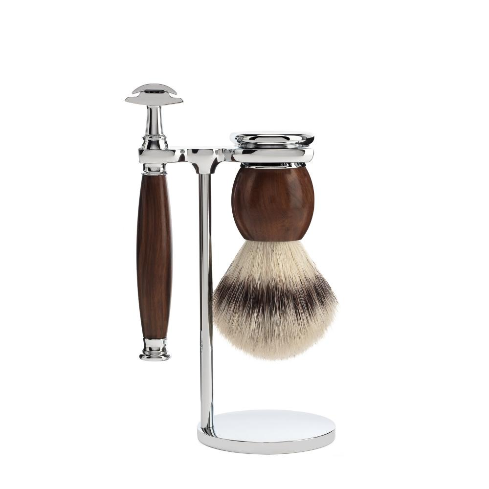 MÜHLE SOPHIST Ironwood 3-piece Silvertip Fibre / Safety Razor Shaving Set