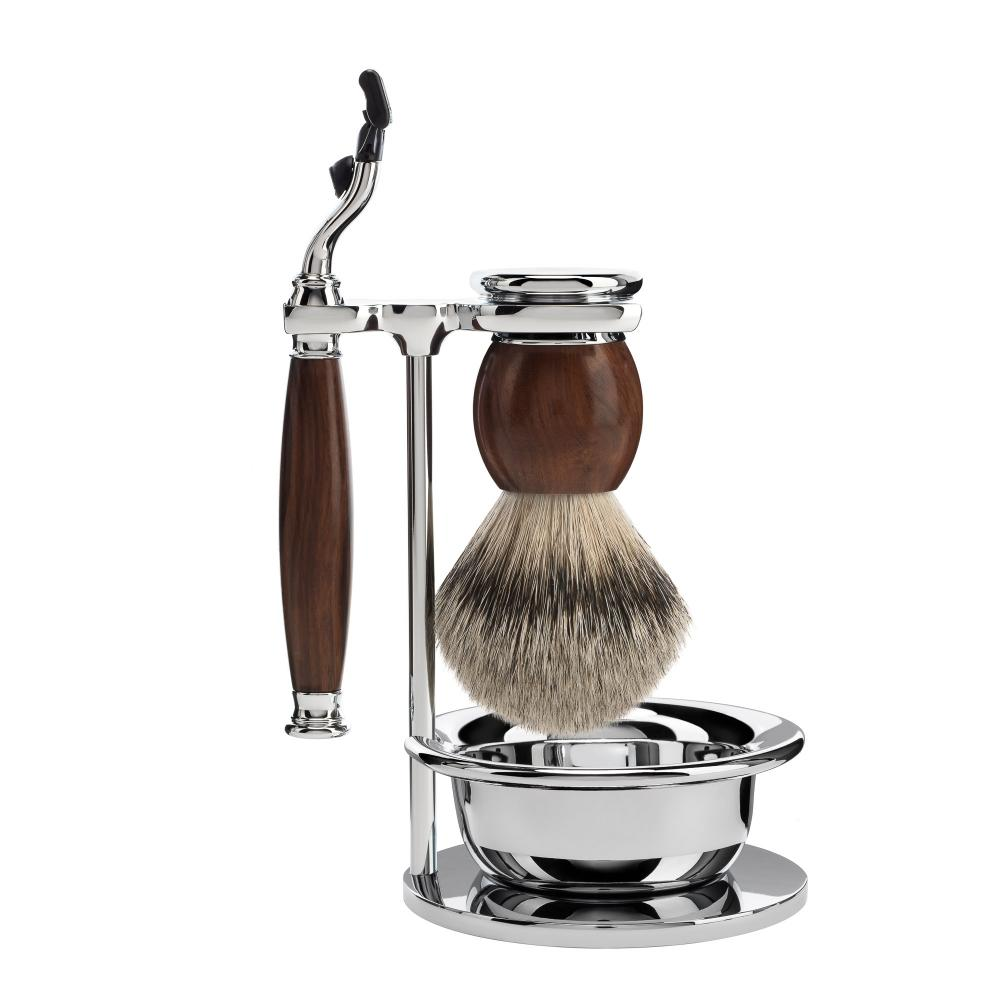 MÜHLE SOPHIST Ironwood 4-piece Silvertip Badger / Mach3 Shaving Set