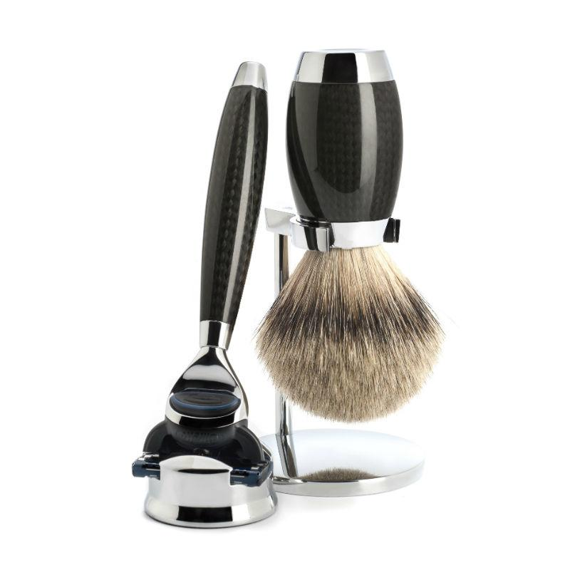 The MÜHLE Carbon Silvertip Badger Fusion Shaving Set.
