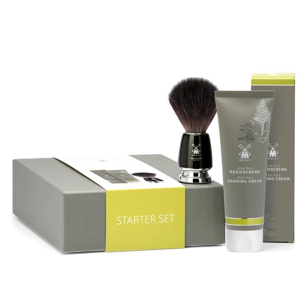 Pictured: The MÜHLE Starter Set including Black Fibre RYTMO Shaving Brush and Aloe Vera Shaving Cream