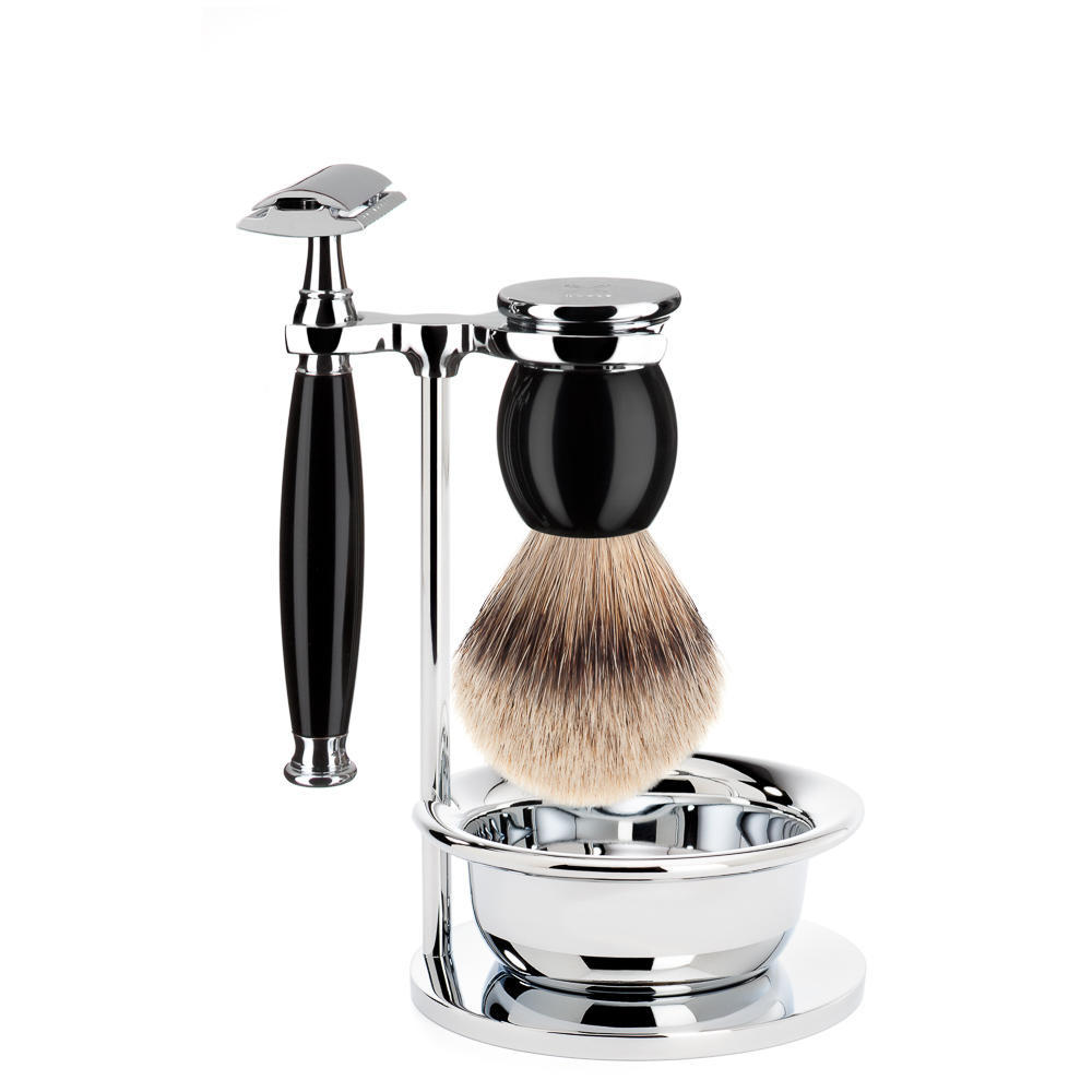 MUHLE SOPHIST Silvertip Badger brush and Safety Razor Shaving Set in Black with Bowl - S93K44SSR