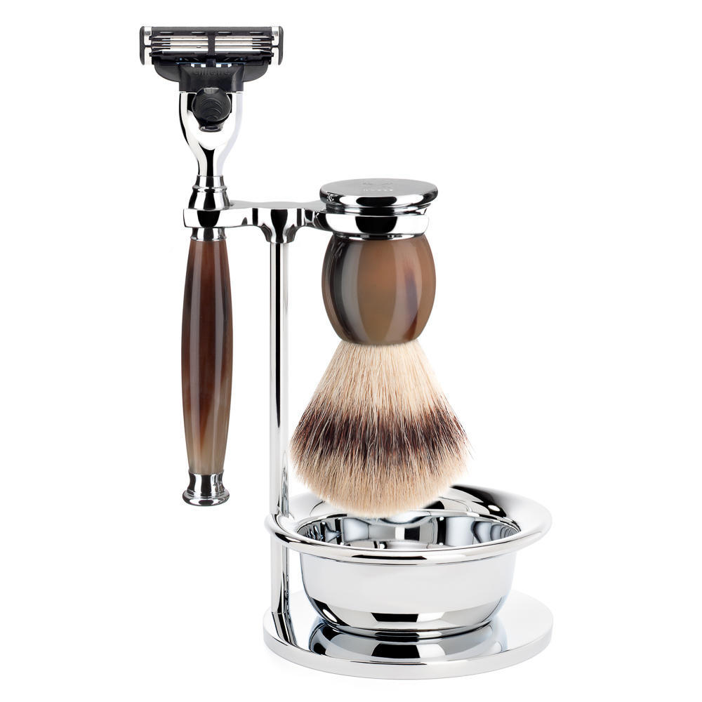 MUHLE SOPHIST Silvertip Fibre Brush and Mach3 Razor Shaving Set in Horn with Bowl and Stand - S33B42SM3