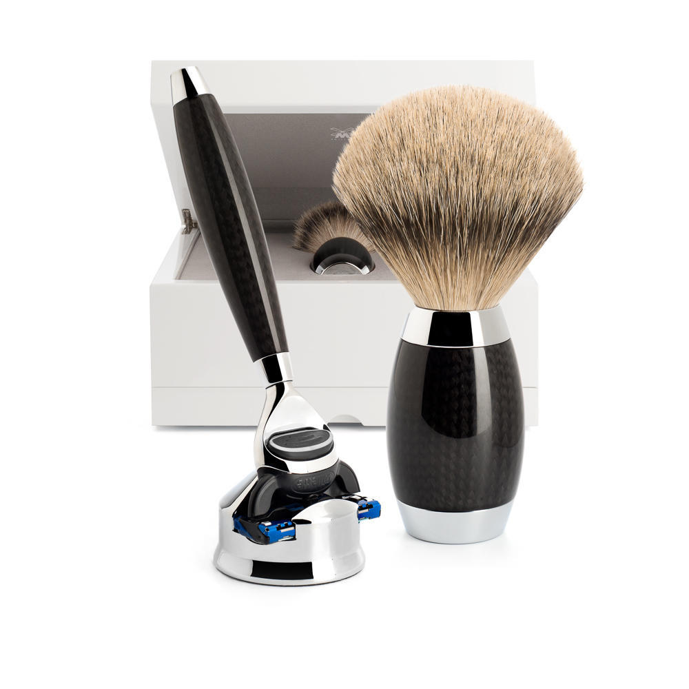 MUHLE EDITION No. 1 Carbon Fibre 3-Piece Silvertip Badger Shaving Set - S493ED1