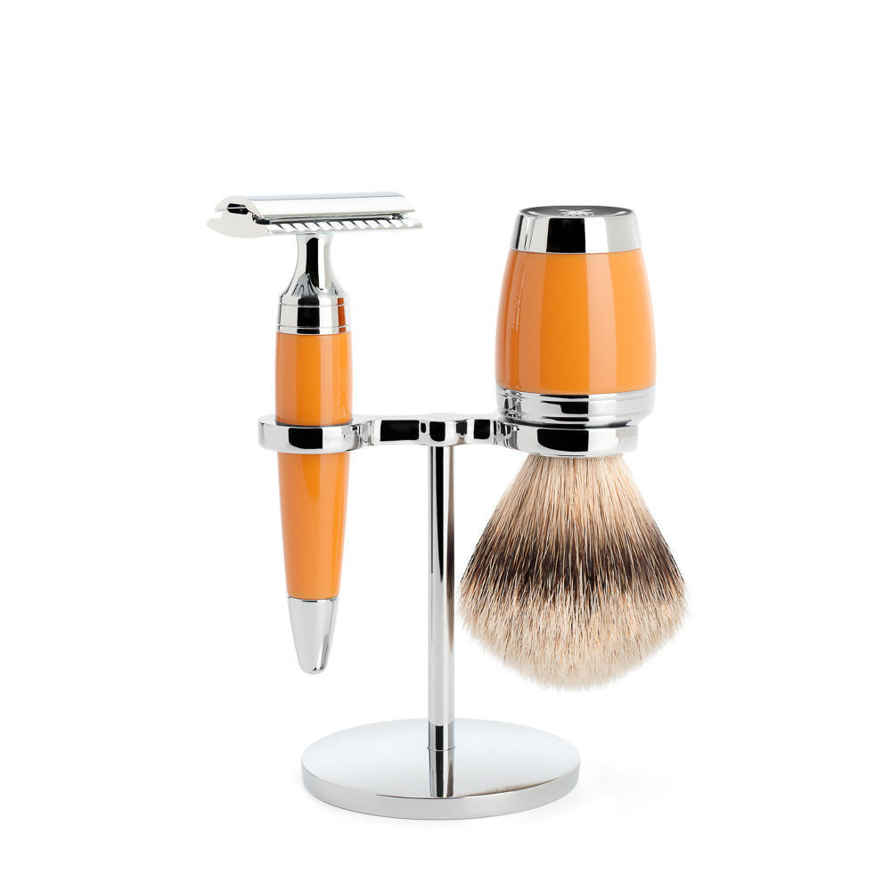 MÜHLE STYLO 3-piece shaving set in butterscotch Incl. silvertip badger shaving brush and safety razor