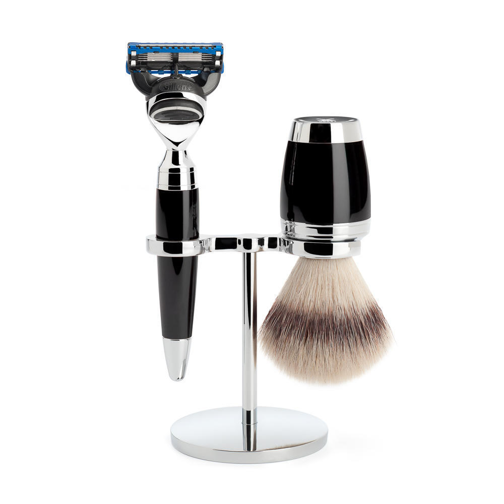 MÜHLE STYLO 3-piece shaving set in black Incl. silvertip fibre shaving brush and Fusion razor