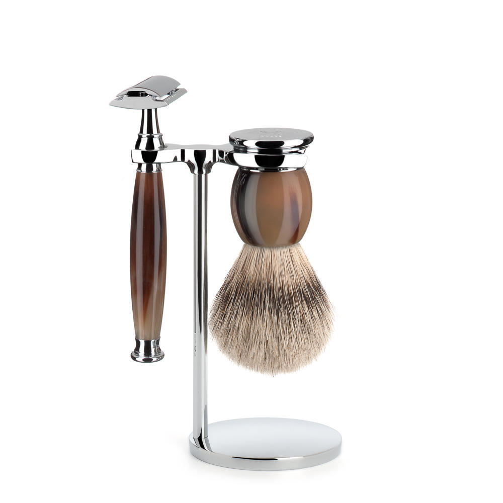 MUHLE SOPHIST Silvertip Badger Brush and Safety Razor Shaving Set in Genuine Horn  - S93B42SR