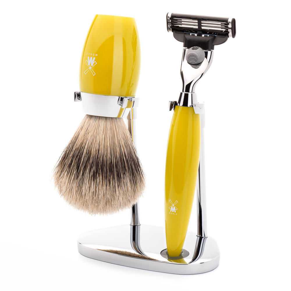 MÜHLE KOSMO 3-piece shaving set in citrine Incl. silvertip badger shaving brush and Mach3 razor