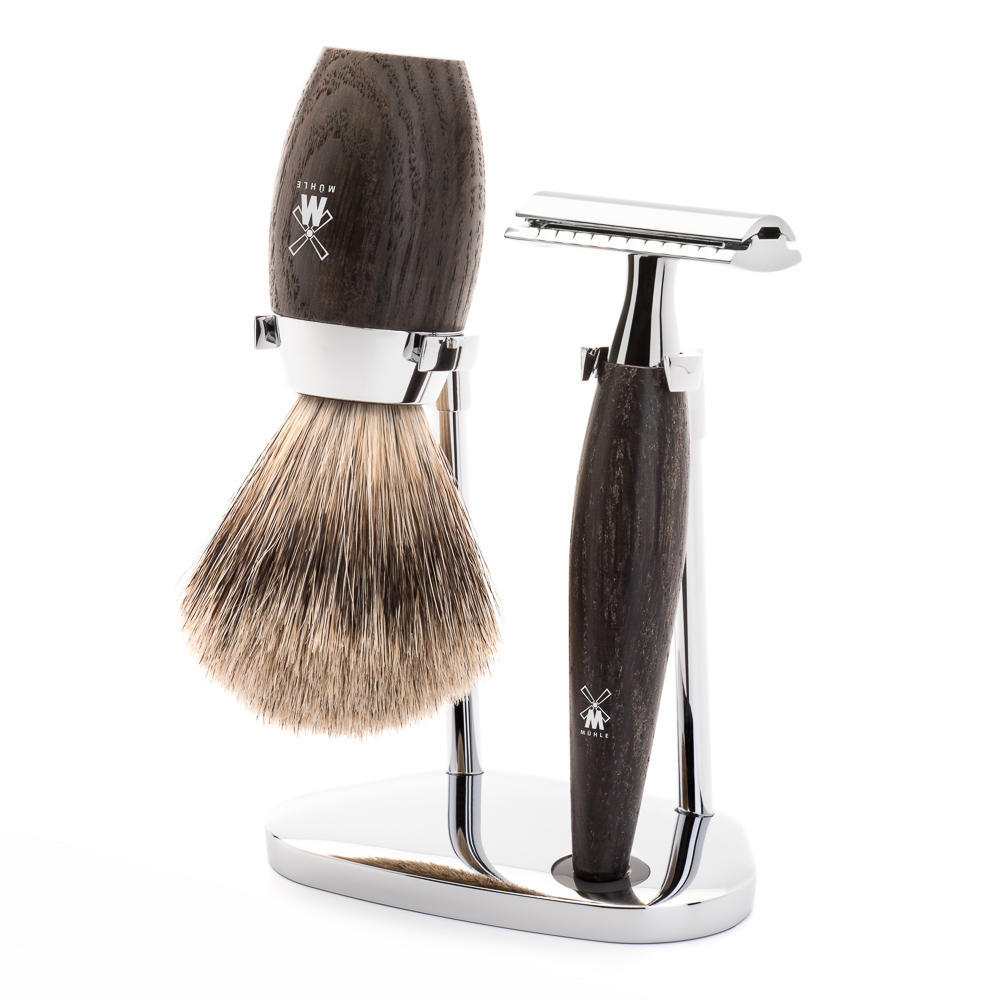 MÜHLE KOSMO 3-piece shaving set in bog oak Incl. fine badger shaving brush and safety razor