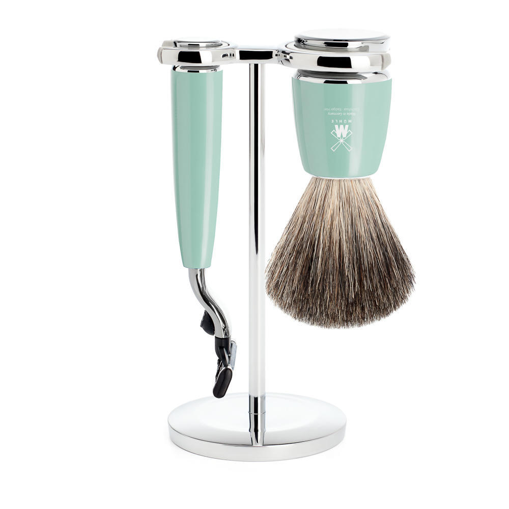MUHLE RYTMO Mint Resin 3-piece Pure Badger Brush and Mach3 Razor Shaving Set - S81M224M3