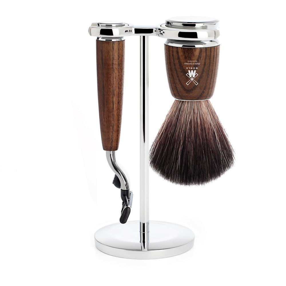 MUHLE RYTMO Steamed Ash 3-piece Black Fibre Brush and Mach3 Razor Shaving Set - S21H220M3