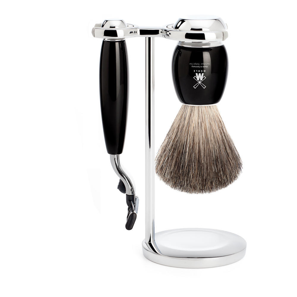 MUHLE VIVO Black 3-piece Pure Badger Brush and Mach3 Razor Shaving Set - S81M336M3