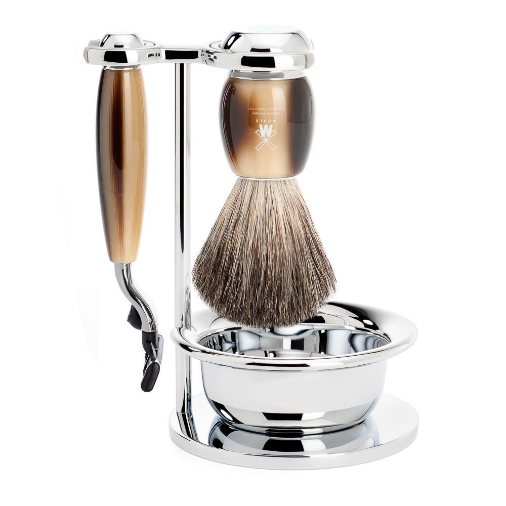 MUHLE VIVO Brown Horn Resin 4-piece Pure Badger Brush and Mach3 Razor Shaving Set - S81M332SM3