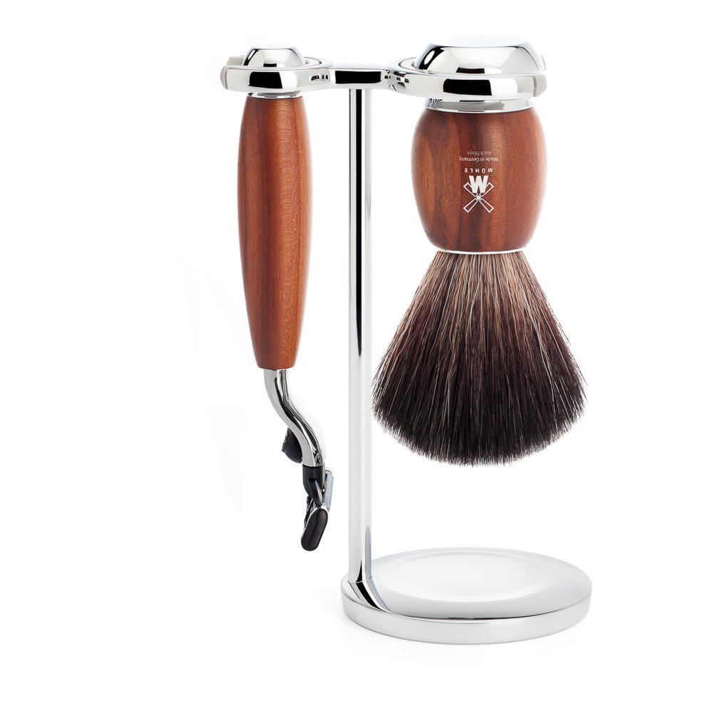 MUHLE VIVO Plumwood 3-piece Black Fibre Brush and Mach3 Razor Shaving Set with Stand - S21H331M3
