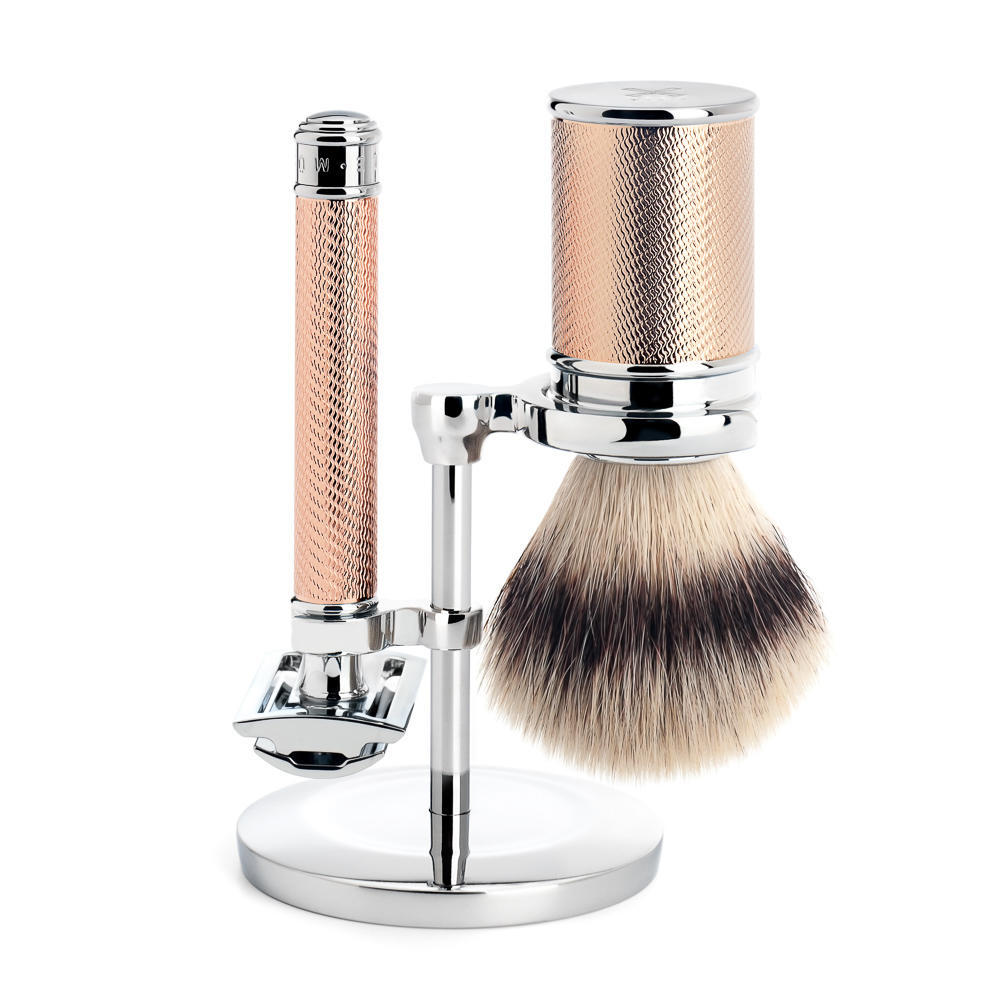 MUHLE TRADITIONAL Rose Gold Silvertip Fibre Brush and Closed Comb Safety Razor Shaving Set - S31M89RG