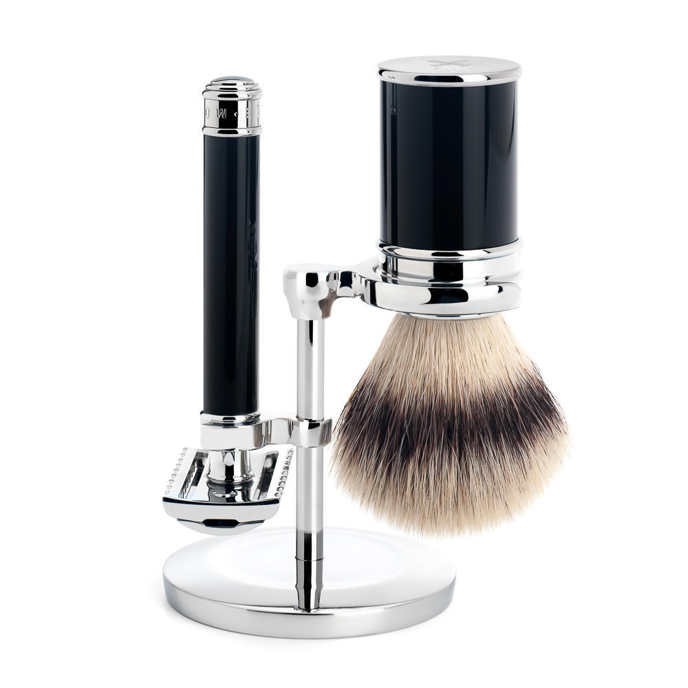 MUHLE TRADITIONAL Black Silvertip Fibre Brush and Open Comb Safety Razor Shaving Set - S31M101