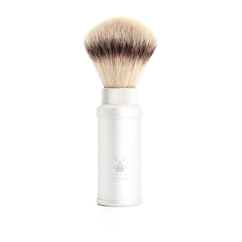 MUHLE TRAVEL SIlver Anodised Aluminum Silvertip Fibre Travel Shaving Brush - 31M530