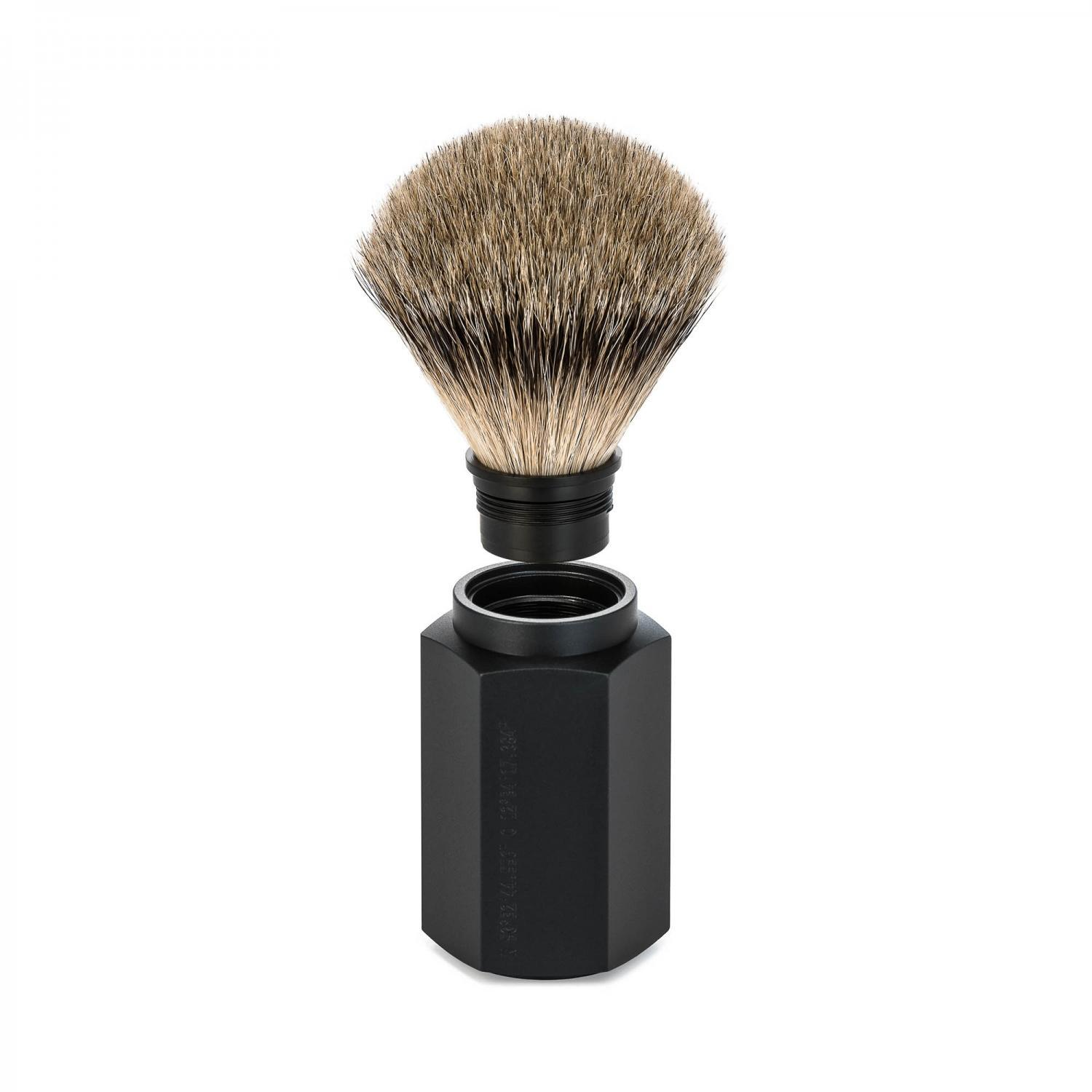MUHLE HEXAGON Graphite Silvertip Badger Shaving Brush