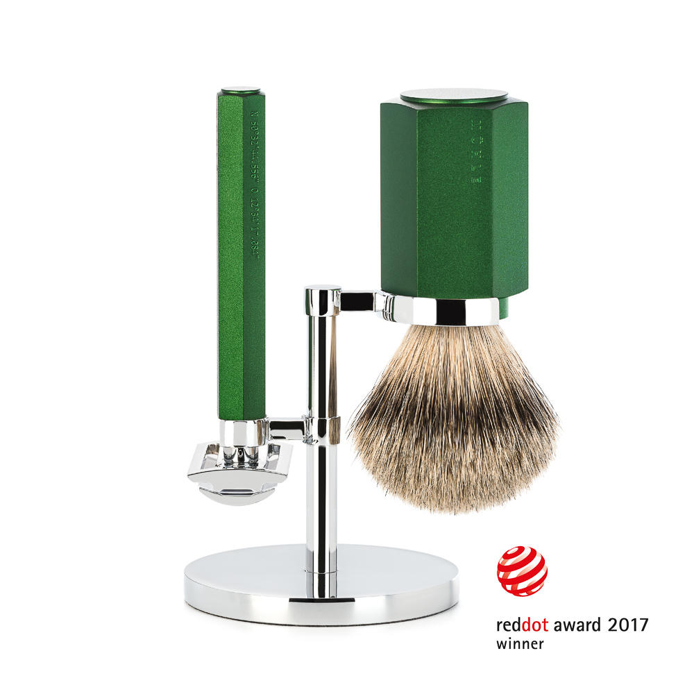MUHLE HEXAGON Series Forest 3-Piece Silvertip Badger Shaving Set - S091MHXGFOREST