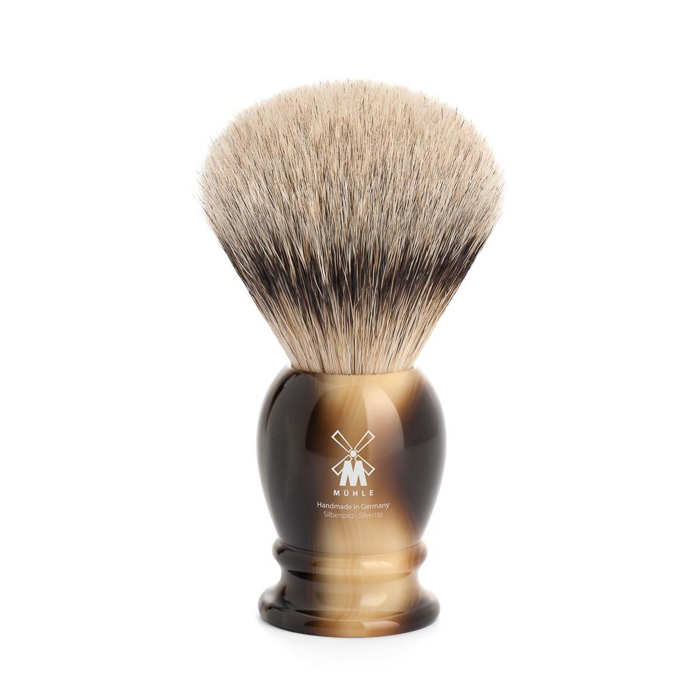 MUHLE Classic Large Brown Horn Silvertip Badger Shaving Brush - 93K252